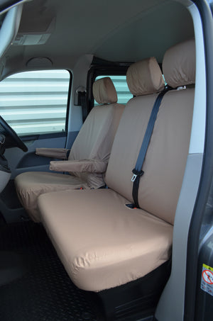 VW Volkswagen Transporter T5 2010 - 2015 Front Seat Covers Beige / Driver's & Double Passenger / With Armrests Turtle Covers Ltd