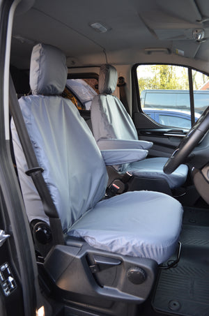 Ford Transit Custom 2013 Onwards Tailored Front Seat Covers Grey / Driver's & Single Passenger Turtle Covers Ltd
