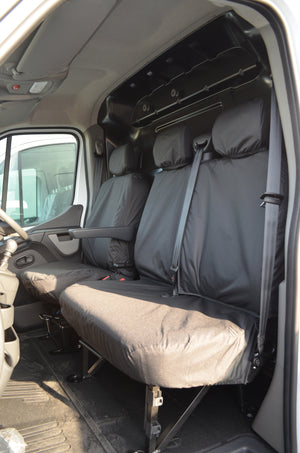 Vauxhall Movano Van 2010 Onwards Tailored Front Seat Covers Black / Non-Folding Fixed Seat & Base Turtle Covers Ltd