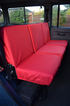 Land Rover Defender 1983 - 2007 Rear Seat Covers 2nd Row 3 Singles / Red Turtle Covers Ltd