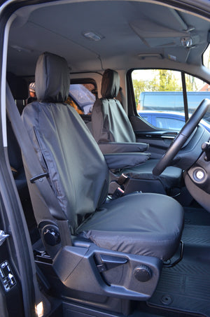 Ford Transit Custom 2013 Onwards Tailored Front Seat Covers Black / Driver's & Single Passenger Turtle Covers Ltd
