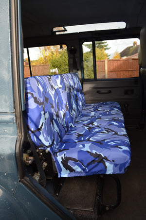 Land Rover Defender 1983 - 2007 Rear Seat Covers 2nd Row 3 Singles / Blue Camouflage Turtle Covers Ltd