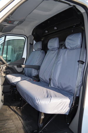 Vauxhall Movano Van 2010 Onwards Tailored Front Seat Covers Grey / Non-Folding Fixed Seat & Base Turtle Covers Ltd