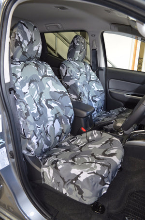 Mitsubishi L200 Series 5 Mark 7 Grey DPM Camouflage Tailored Front Seat Covers