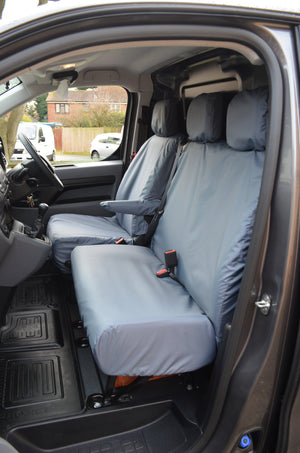 Vauxhall Vivaro 2019+ Seat Covers Grey / NO Worktray Turtle Covers Ltd
