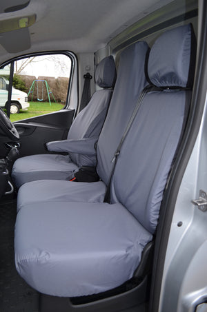 Renault Trafic Van 2014 Onwards Tailored Front Seat Covers Grey / Folding Middle Seat & Underseat Storage Turtle Covers Ltd