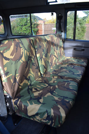 Land Rover Defender 1983 - 2007 Rear Seat Covers 2nd Row 3 Singles / Green Camouflage Turtle Covers Ltd