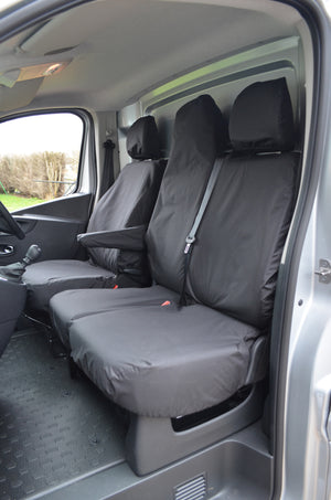 Renault Trafic Van 2014 Onwards Tailored Front Seat Covers Black / Folding Middle Seat & Underseat Storage Turtle Covers Ltd