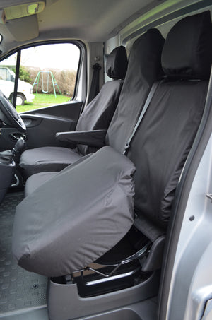 Vauxhall Vivaro 2014 - 2019 Tailored Front Seat Covers Black / Folding Middle Seat & Underseat Storage Turtle Covers Ltd