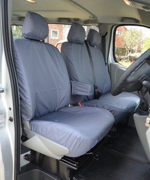 Renault Trafic 2001 - 2006 Tailored Front Seat Covers Grey / With Driver's Armrest Turtle Covers Ltd