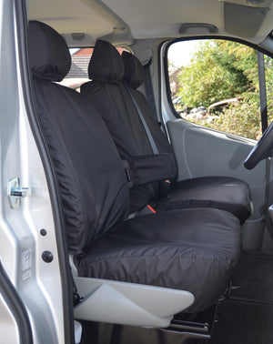 Vauxhall Vivaro 2006 - 2013 Tailored Front Seat Covers Black / With Driver's Armrest Turtle Covers Ltd