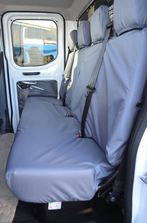 Ford Transit 2014+ Tailored & Waterproof Rear Seat Covers Grey / 4-Seater Bench Turtle Covers Ltd