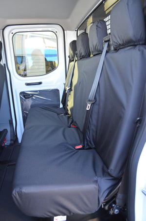 Ford Transit 2014+ Tailored & Waterproof Rear Seat Covers Black / 4-Seater Bench Turtle Covers Ltd