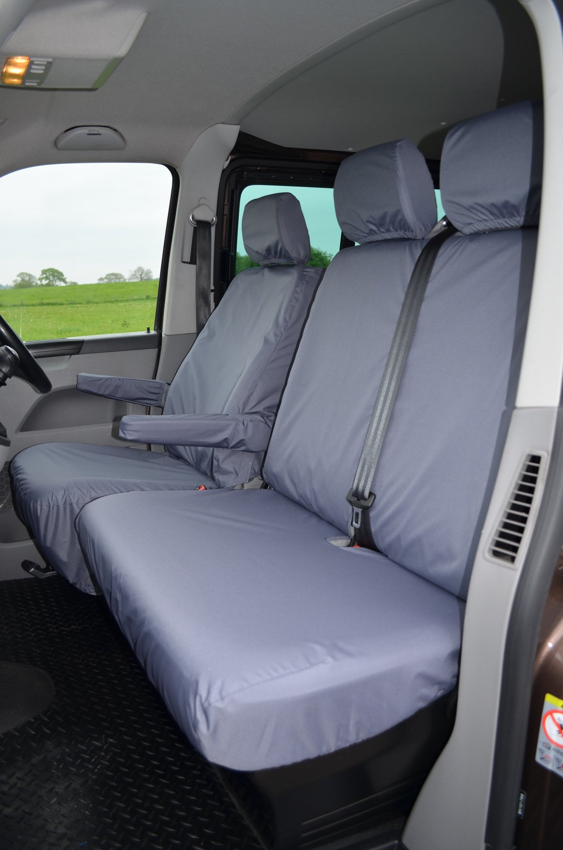 Black Triple Bench Heavy Duty Waterproof Fabric Seat Covers Suitable for Various Mini-Busses and Commercial Vehicles with Wide Bench Seats Easy Fit