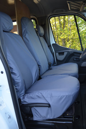 Nissan NV400 Van 2011 Onwards Tailored Front Seat Covers Grey / Folding Middle Seat - 1 Piece Bench Turtle Covers Ltd