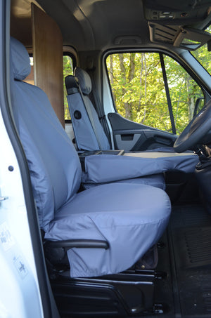 Vauxhall Movano Van 2010 Onwards Tailored Front Seat Covers Grey / Folding Middle Seat - 1 Piece Bench Turtle Covers Ltd