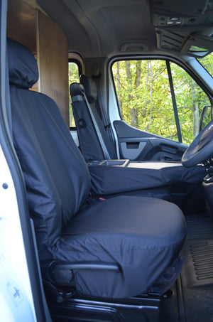 Vauxhall Movano Van 2010 Onwards Tailored Front Seat Covers Black / Folding Middle Seat - 1 Piece Bench Turtle Covers Ltd