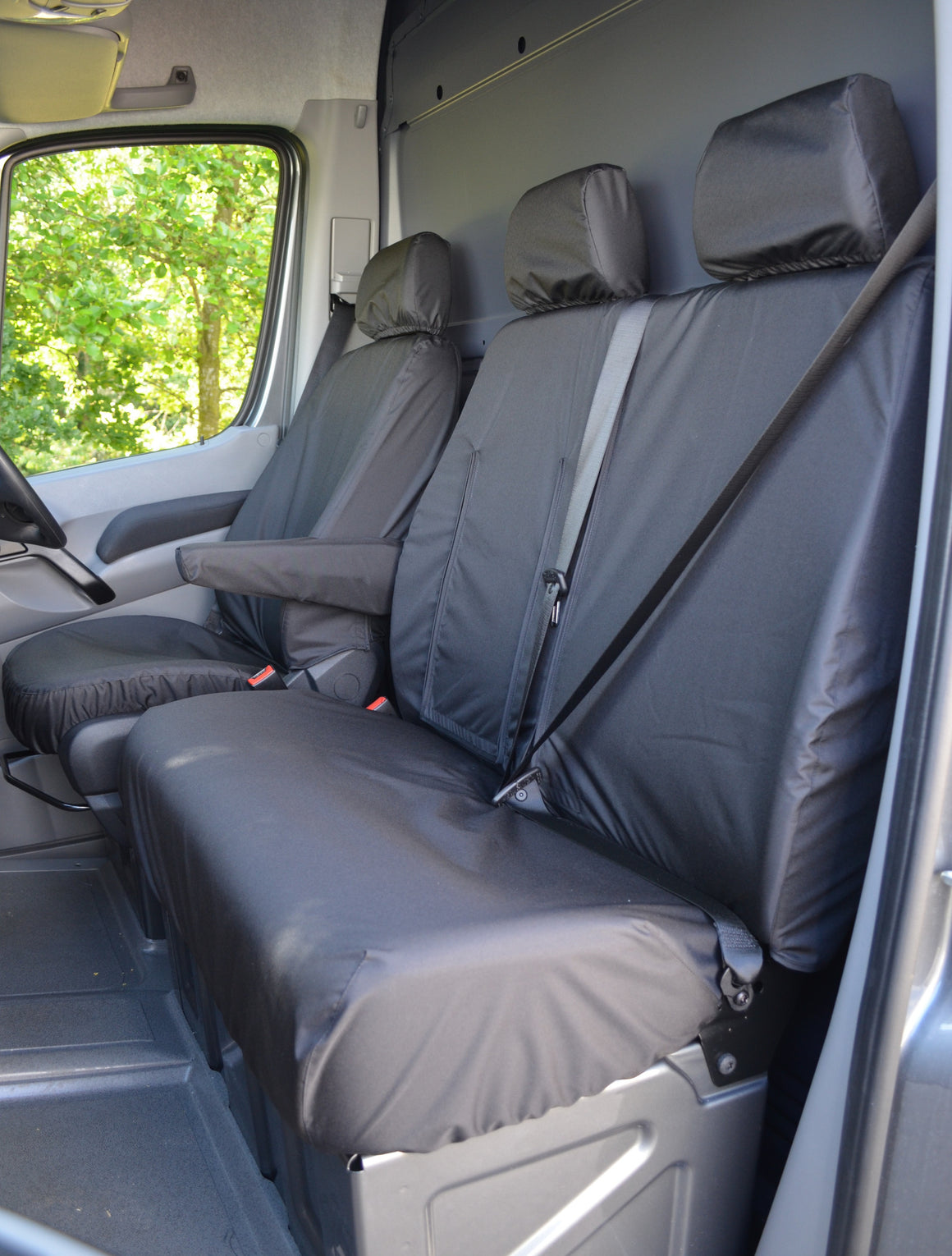 Mercedes Sprinter 2010 - 2018 Van Tailored & Waterproof Seat Covers Black / Front Turtle Covers Ltd