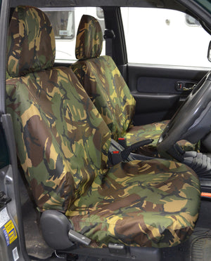 Mitsubishi L200 Double Cab (1998 to 2006) Tailored Seat Covers Front Seats / Green Camouflage Turtle Covers Ltd