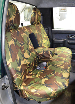 Mitsubishi L200 Double Cab (1998 to 2006) Tailored Seat Covers Rear Seat / Green Camouflage Turtle Covers Ltd
