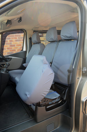 Nissan NV300 2016+ 9-Seater Minibus Seat Covers Grey / Front 3 Seats (With Underseat Storage) Turtle Covers Ltd