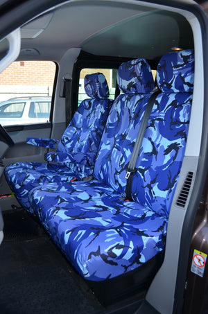 VW Volkswagen Transporter T5 2010 - 2015 Front Seat Covers Blue Camouflage / Driver's & Double Passenger / With Armrests Turtle Covers Ltd