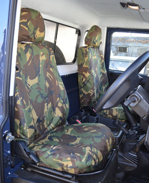 Land Rover Defender 2007 - 2015 Seat Covers Green Camouflage Turtle Covers Ltd