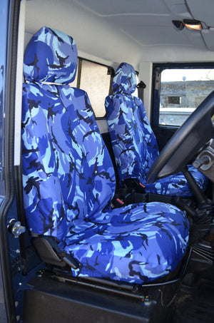Land Rover Defender 2007 - 2015 Seat Covers Blue Camouflage Turtle Covers Ltd