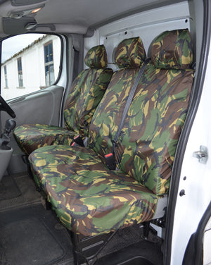 Renault Trafic 2001 - 2006 Tailored Front Seat Covers Green Camouflage / With Driver's Armrest Turtle Covers Ltd