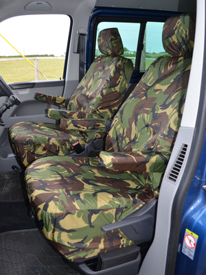 VW Volkswagen Transporter T5 2010 - 2015 Front Seat Covers Green Camouflage / Driver's & Single Passenger / With Armrests Turtle Covers Ltd