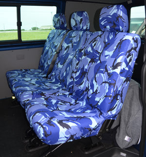 VW Volkswagen Transporter T5 Kombi 2010 - 2015 Rear Seat Covers Single & Double Seats / Blue Camo Turtle Covers Ltd