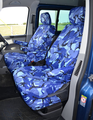 VW Volkswagen Transporter T5 2010 - 2015 Front Seat Covers Blue Camouflage / Driver's & Single Passenger / With Armrests Turtle Covers Ltd