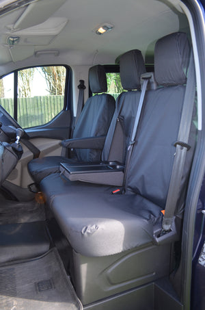 Ford Transit Custom 2013 Onwards Tailored Front Seat Covers Black / Driver's & Double Passenger WITH Worktray Turtle Covers Ltd