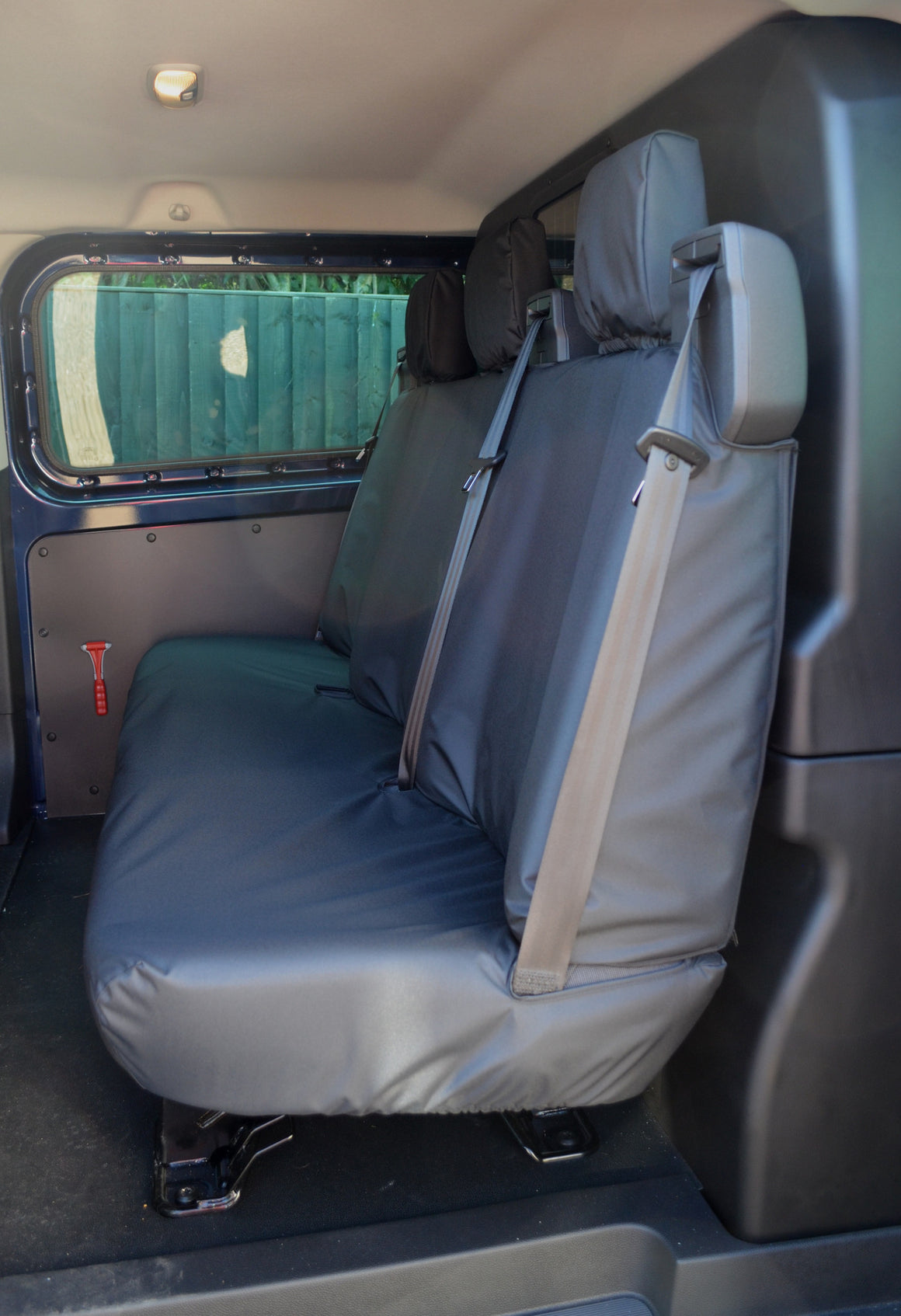 Ford Transit Custom 2013+ Tailored & Waterproof Rear 3-Seater Bench Seat Cover Grey Turtle Covers Ltd