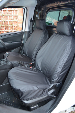 Fiat Doblo Van 2010+ Tailored Seat Covers Black / Front Pair Turtle Covers Ltd
