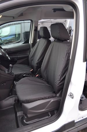 Ford Transit Connect 2018+ Tailored Seat Covers Front Pair (With Armrests) / Black Turtle Covers Ltd