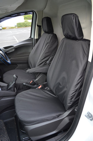 Ford Transit Courier 2014+ Tailored Waterproof Seat Covers Driver's Seat and Non-Folding Passenger Seat / Black Turtle Covers Ltd