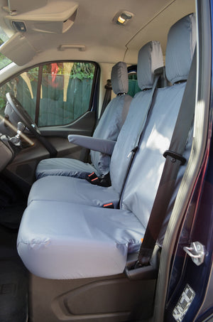 Ford Transit Custom 2013 Onwards Tailored Front Seat Covers Grey / Driver's & Double Passenger NO Worktray Turtle Covers Ltd