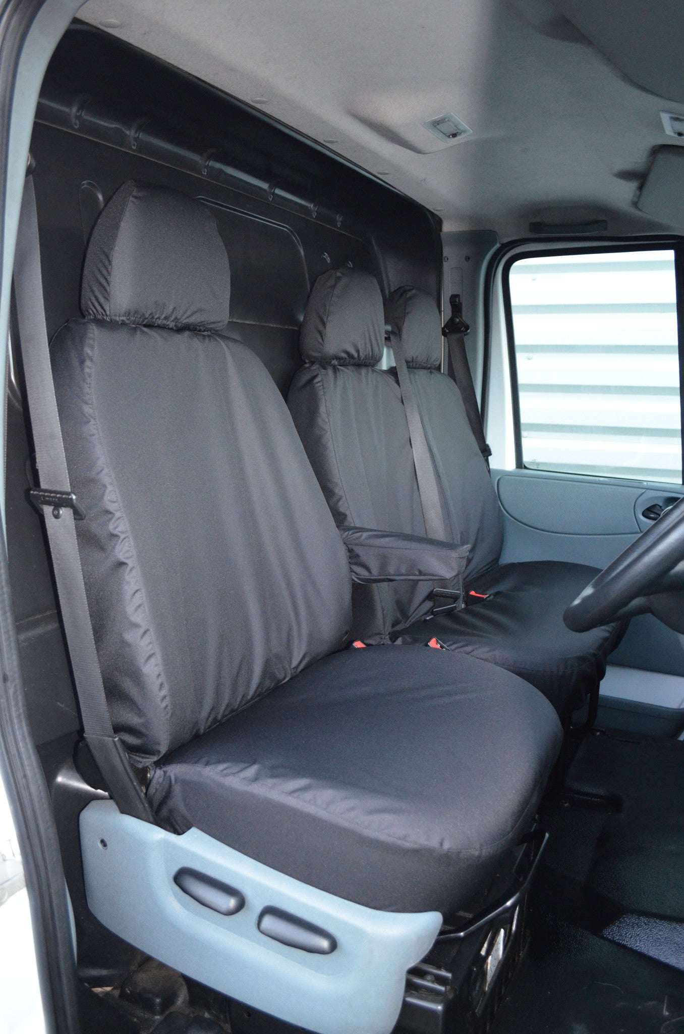 HEAVY DUTY GREY FULLY TAILORED VAN SEAT COVERS FORD TRANSIT CUSTOM TREND 2016