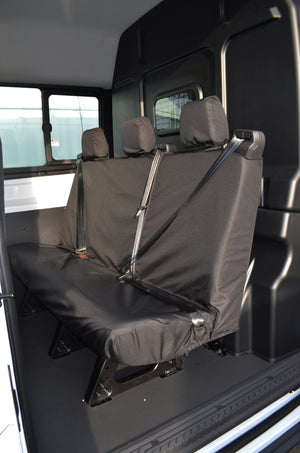 Ford Transit 2014+ Tailored & Waterproof Rear Seat Covers Black / 3-Seater Turtle Covers Ltd