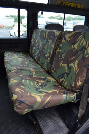 Land Rover Defender 1983 - 2007 Rear Seat Covers 2nd Row Single & Double / Green Camouflage Turtle Covers Ltd