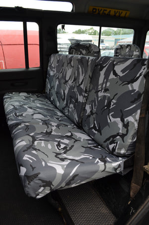 Land Rover Defender 1983 - 2007 Rear Seat Covers 2nd Row Single & Double / Grey Camouflage Turtle Covers Ltd