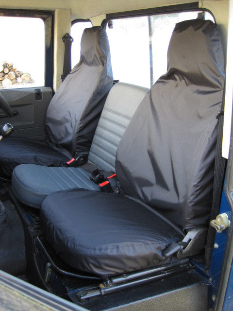 Land Rover Defender 90 110 1983-2007 Three Tailored Front Seat Covers Navy Blue