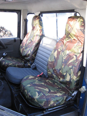 Land Rover Defender 1983 - 2007 Front Seat Covers Front Pair / Green Camouflage Turtle Covers Ltd