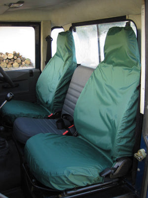 Land Rover Defender 1983 - 2007 Front Seat Covers Front Pair / Green Turtle Covers Ltd