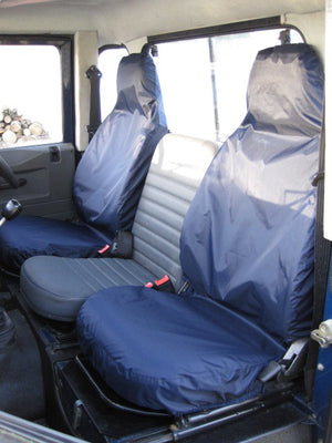 Land Rover Defender 1983 - 2007 Front Seat Covers Front Pair / Navy Blue Turtle Covers Ltd