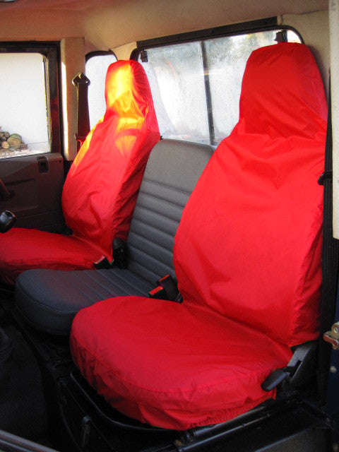 Land Rover Defender 1983 - 2007 Front Seat Covers Front Pair / Red Turtle Covers Ltd