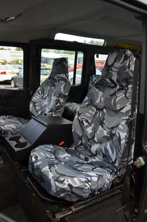Land Rover Defender 1983 - 2007 Front Seat Covers Front Pair / Grey Camouflage Turtle Covers Ltd
