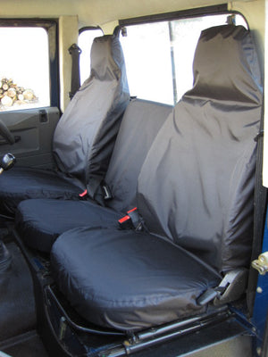 Land Rover Defender 1983 - 2007 Front Seat Covers 3 Front Seats / Black Turtle Covers Ltd