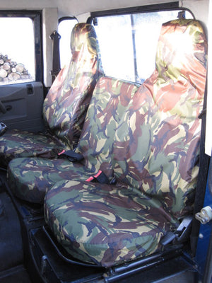 Land Rover Defender 1983 - 2007 Front Seat Covers 3 Front Seats / Green Camouflage Turtle Covers Ltd